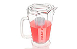 Polar Pitcher® is a 60-ounce clear plastic beverage pitcher with a built-in cooling cylinder that holds ice and keeps beverages chilled in a sanitary manner without dilution or contamination.