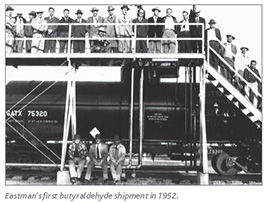 Eastman's first butyraldehyde shipment in 1952.